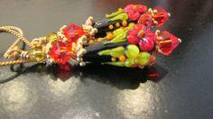 Sale...Spectacular Floral Lampwork Earrings...Bright by sharrona, $49.00