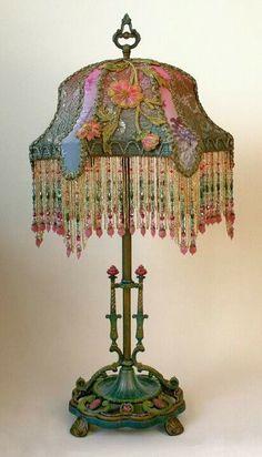 ❥ beautiful bohemian lamp~ love those colors!