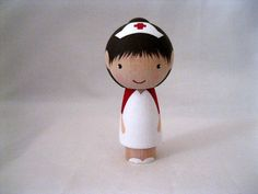 A Nurse Marries a Doctor Kokeshi Peg Doll Wedding by knottingwood