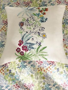 "NEW Yves Delorme Enfleur Decorative 17/"" Square Pillow"