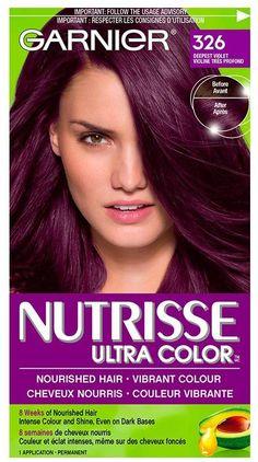 Shop for Nutrisse Ultra Color by Garnier Dark Purple Hair, Dyed Hair Purple, Plum Hair, Hair Color Purple, Hair Dye Colors, Hair Color For Black Hair, Cool Hair Color, Dark Hair, Deep Violet Hair