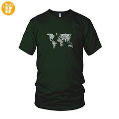 Letter World Map - Herren T-Shirt, Größe: M, Farbe: dunkelgrün (*Partner-Link)