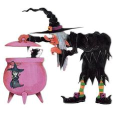 senile old witch found her cat - Cute Halloween Witches