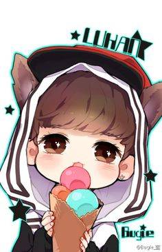 Luhan fanart. If they have to add ferocious wolf ears to him, they have to add ice cream to make him cute again.