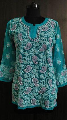 Bluish Green Georgette top