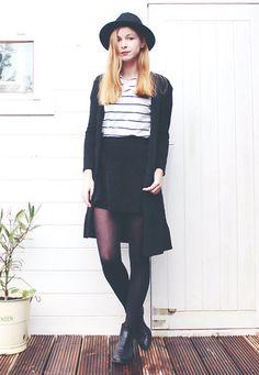 America Today Black Fedora, Black Skater Skirt, Black Midi Caridgan, Striped Shirt, Fred De La Bretonière Chelsea Boots