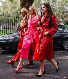 Leather Fashion, Fashion Boots, Red Leather, Patent Leather, Leather Jacket, Patent Trench Coats, Pink Raincoat, Rubber Raincoats, Pvc Coat