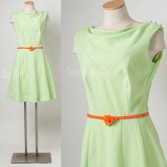 Vintage mint green dress 60s dress Mod dress mad men dress aline dress - M/L