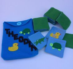 Felt memory game with animals is perfect gift for kids. It comes with personalized back. perfect travel toy or handmade gift. Visit my shop and make custom order.