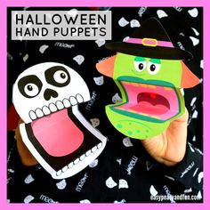 Printable Halloween Puppets - BastelnThe best Halloween craft idea for kids to make this season! Print these printable Halloween puppets - Jack o lantern, vampire, witch or skeleton (and many more) and let your kids have tons of fun playing with them Diy Halloween, Printable Halloween, Theme Halloween, Holidays Halloween, Haloween Craft, Halloween Crafts For Kids To Make, Halloween 2019, Kids Crafts, Diy And Crafts