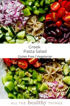 This gluten free Greek Pasta Salad is full of crisp fresh veggies, gluten free pasta, fresh herbs, creamy feta cheese and the most delicious Greek vinaigrette. It is the perfect light lunch or filling weeknight dinner side dish. Healthy Summer Recipes, Easy Salad Recipes, Easy Salads, Vegetarian Recipes, Lunch Recipes, Greek Vinaigrette, Greek Salad Pasta, Dinner Side Dishes, Gluten Free Pasta