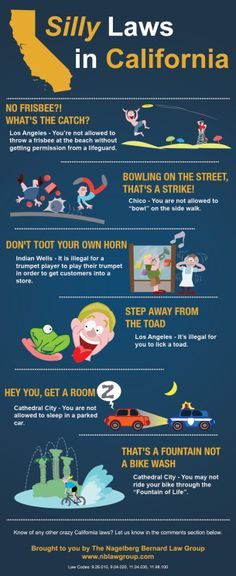 """This infographic depicts some of the various """"silly"""" laws that are on the books in California. Everything from bowling in the street to playing a trum In Laws Humor, Funny Laws, California Law, Weird Laws, Agent Of Change, Law School, School Humor, Fun Facts, Humor"""
