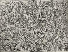 Meckenem d. Ä., Israhel van Langtitel:Ornamentblatt mit Pelikan und seinen Jungen Entstehungsjahr:um 1457–1470 Maße:15,8 × 12,2 cm Technik:Kupferstich