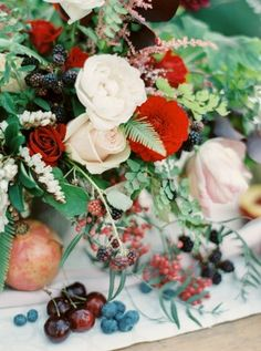 ferns, fruit and flower color palette inspiration - photo by Rebecca Hollis