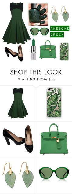 """""""Green"""" by madmaggie20 on Polyvore featuring moda, WithChic, Casetify, Miu Miu, Shany, Hermès e The Row"""