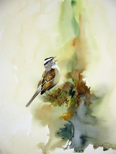 Happy Sparrow Painting by Lynne Parker - Happy Sparrow Fine Art Prints and Posters for Sale