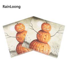 [Visit to Buy] [RainLoong] Pumpkin Paper Napkins Halloween Festive & Party Supplies  Tissue Napkins Decoration Servilleta 33cm*33cm 20pcs/pack #Advertisement