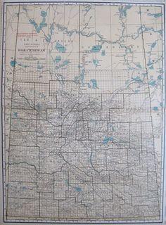 c1920 Uncommon Antique SASKATCHEWAN Map Canada Map Rare Size 19 by 26