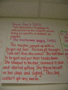 Branson Reader's Workshop / Anchor Charts Photos - Show, Don't Tell. Precise, specific language helps paint a picture in the reader's mind.