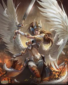 female angelic warrior with armor