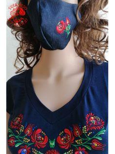 Szervető-matyó szájmaszk - farmer Embroidered Clothes, Farmer, 3d Design, Folk Art, Pattern, Fabric, Layers, Middle, Tela