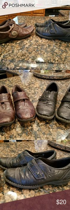 Clark shoes. 2 pairs, one black, one brown Comfortable,  gently worn shoes, excellent condition. Brown pair is a little worn on toe. Clark's Shoes Flats & Loafers