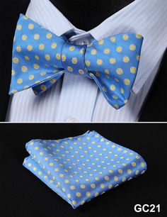 GC21 BLUE, YELLOW Floral 100% Silk Butterfly Tie Self Tie Bow Tie Pocket Square Bow tie Set