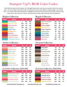 "2013-2014 RGB & HEX Color Code Charts to print  ""Using the official RGB codes from My Digital Studio, I have updated my custom handout with the color codes for all our exclusive Stampin' Up! colors including our new In Colors."""