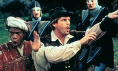 """2013 - BBC bans tights. Fear it will be """"distracting"""" Costume Designers for The White Queen want their men to appear masculine according to production notes. (pic is from movie - Robin Hood: Men in Tights)"""