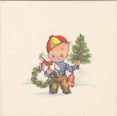 Holiday Cheer 1940s Vintage Card Christmas by EphemeraObscura