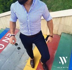 Blue striped shirt, navy chinos, dark brown loafers and matching belt