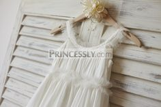 Boho Beach Ivory Chiffon Tulle Flower Girl Dress - Flower Girl Dresses - Wedding