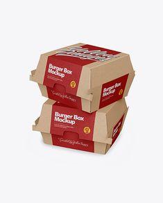 Two Kraft Burger Boxes Mockup - Half Side View. Present your design on this mockup. Burger Box, Free Mockup Templates, Billboard Signs, Book Stationery, Box Mockup, How To Make Logo, Bottle Mockup, Business Card Mock Up, Pet Bottle