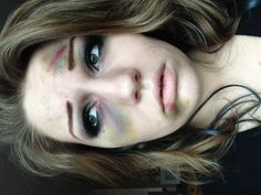 Beat up fake bruises makeup.   :) gonna have to figure out what stage makeup I'll do for my drama final