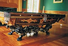 ANTIQUE BRUNSWICK VICTORIAN POOL TABLE