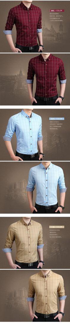 Mens casual slim fit M 5XL 100% algodão 2015 homens camisas de vestido roupas masculinas camisa social , homens marca camisas homme marque em Camisas Casuais de Roupas e Acessórios - Masculino no AliExpress.com | Alibaba Group