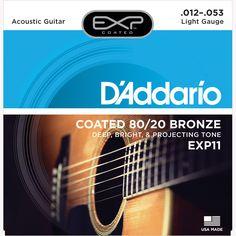 D'Addario EXP11 Coated 80/20 Bronze Acoustic Guitar Strings, Light, 12-53