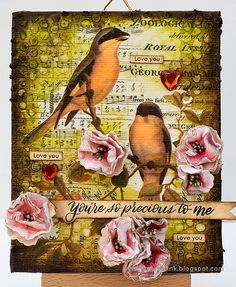 Layers of ink - Flowers and Birds Canvas Tutorial by Anna-Karin Evaldsson. Made with Eileen Hull Sizzix dies and Tim Holtz Aviary Collage Paper.