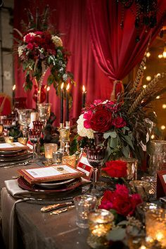 Parisian Circus Wedding Luce Loft Reception Table Centerpiece with Red Roses and Gold Decor