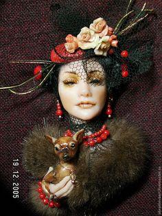 "Брошь""Дама с собачкой"" - ярко-красный,брошь,подарок на 8 марта,ручная авторская работа Polymer Clay Canes, Polymer Clay Jewelry, Old Jewelry, Jewelry Crafts, Jewellery, Brooches Handmade, Russian Art, Soft Sculpture, Handmade Decorations"