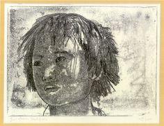 merlyn chesterman monoprints - girl from Drukgyel 2001