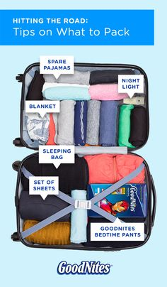 Worried about your child wetting the bed on vacation? Don't stress, pack! Bring an extra set of pajamas and a special pillow or blanket. Things from home can help put your child at ease. A pack of GoodNites Bedtime Pants in a design your child loves is important, too. For more travel tips, click through to our site.