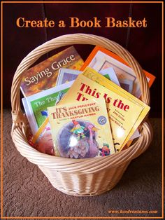 Encourage reading during the holidays by gathering some fun holiday books in a basket. For Thanksgiving, make them available and have the kids recruit family readers. Or read a new book each night leading up to the holiday!