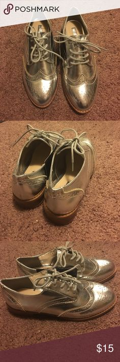 Silver oxfords Forever 21 silver oxfords... size 5.5 ... NWT!!! Forever 21 Shoes Flats & Loafers