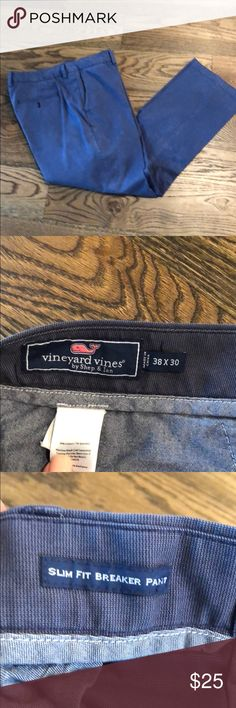 Vineyard Vines slim fit breaker pant These were not worn much as my husband breezed throwing their this size in his weight loss journey. The color is hard to see but the close ups on the tags show the true color. There is almost a weave look. Great pants. Vineyard Vines Pants Chinos & Khakis