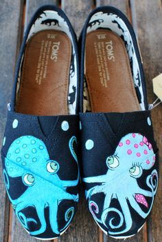 Black Classic Octopus in Love TOMS shoes by BStreetShoes on Etsy, $149.00