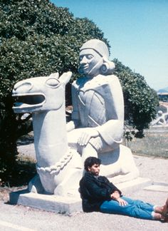 "Sargent Johnson, sculptor, original sculpture from Court of Pacifica, Treasure Island, entitled ""Inca Indian on Llama."""