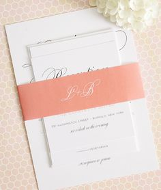 Large Script Wedding Invitations - Perfect for a garden wedding - Garden Script Wedding Invitations - Peach wedding invitations