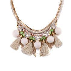 Handmade Multilayer Cotton Tassel Bead Braid Chain Crystal Bohemia Women Choker Necklaces Pendants