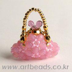 Beaded Mini Purse PATTERN artbeads pink